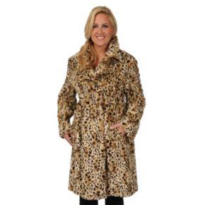 Plus Size Excelled Cheetah Faux-Fur Coat