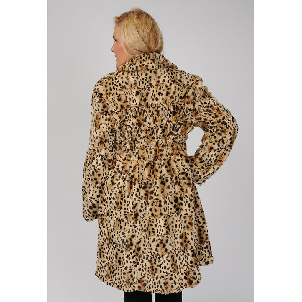 Plus Size Excelled Cheetah Faux-Fur Coat