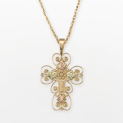 10k and 12k Gold Tri-Tone Gold Reversible Cross Pendant