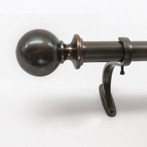 "Decopolitan Pitted Ball Adjustable Curtain Rod – 66"" – 120"""