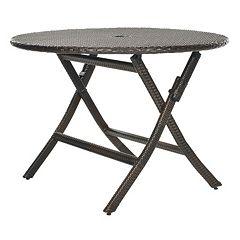 Safavieh Ellis Round Brown Folding Table