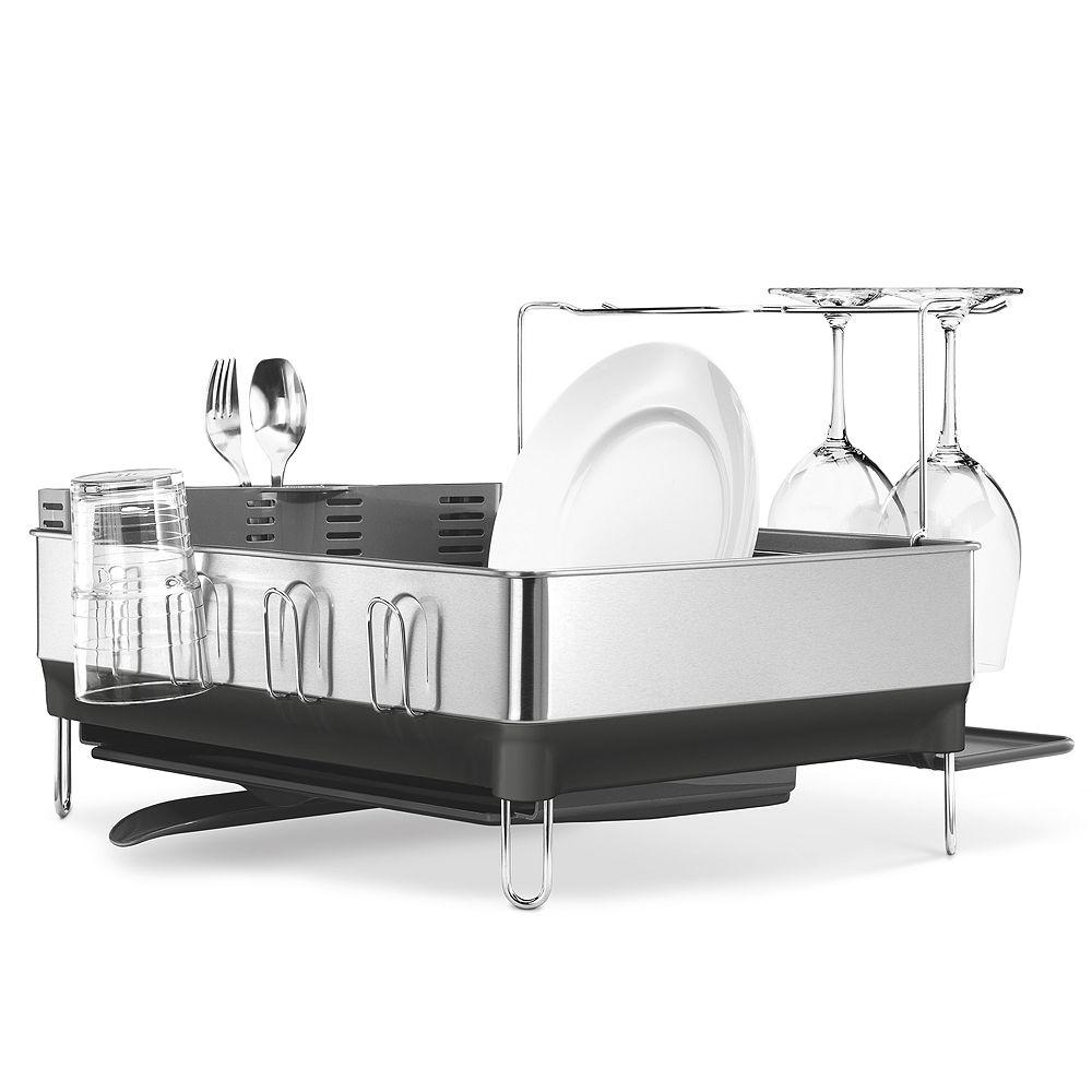 simplehuman Steel Frame Dish Rack with Wine Glass Holder