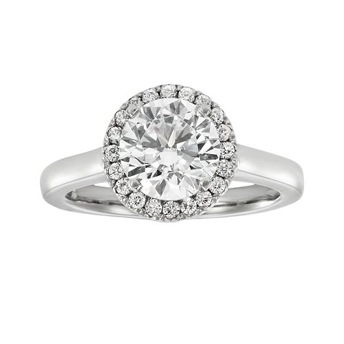 Round-Cut IGL Certified Diamond Frame Engagement Ring in 14k White Gold (2 ct. T.W.)