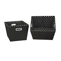 Household Essentials 2 pkBlack Storage Bins
