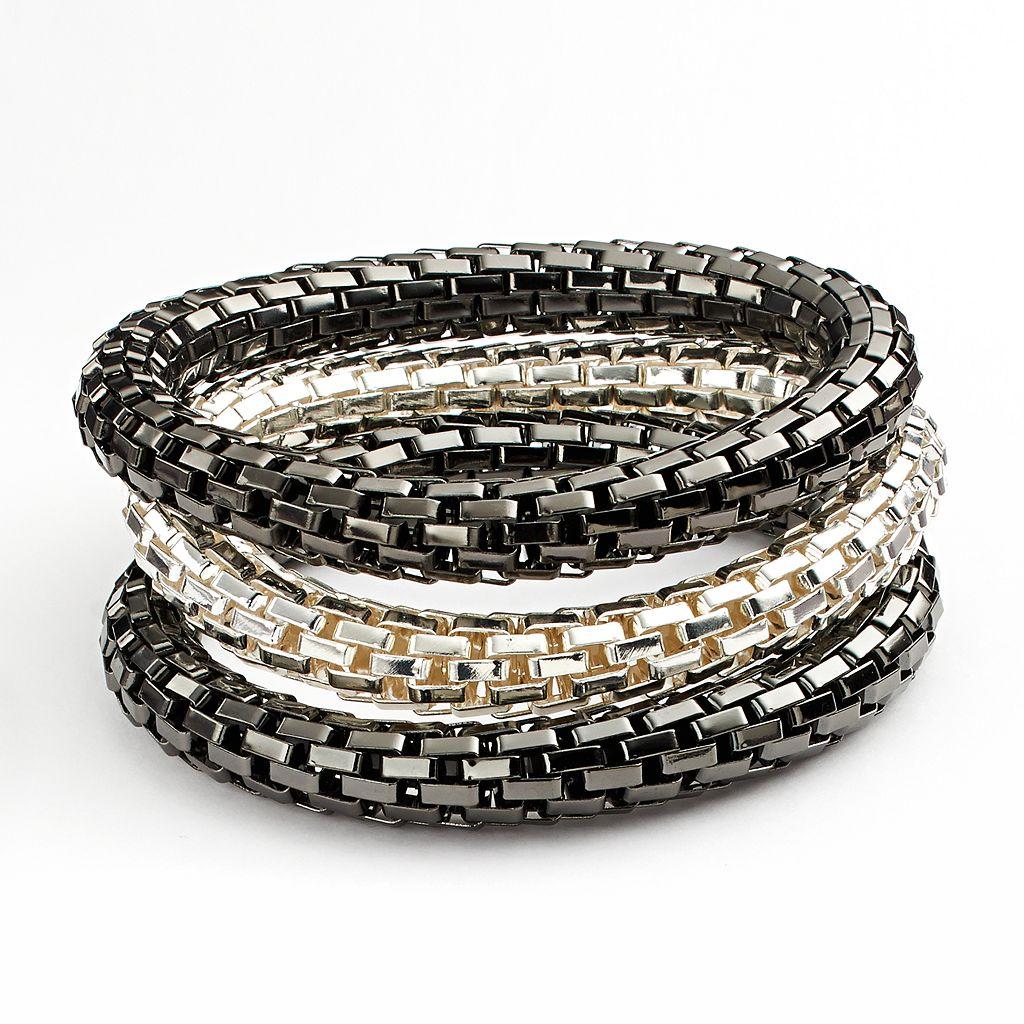 Two Tone Mesh Stretch Bracelet Set