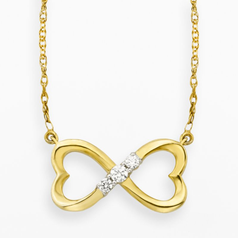 10k gold 110ct tw diamond 3stone infinity heart necklace