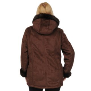 Plus Size Excelled Hooded Faux-Suede Coat