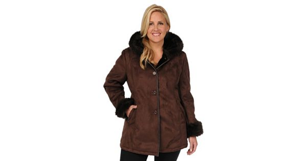 Plus Size Excelled Hooded Faux Suede Coat