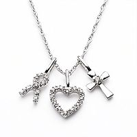 Diamond Petites 10k White Gold 1/10 ctT.W. Diamond Ribbon, Heart & Cross Pendant