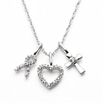 Diamond Petites 10k White Gold 1/10-ct. T.W. Diamond Ribbon, Heart and Cross Pendant