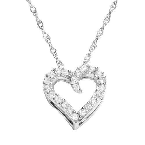 Diamond Petites 10k White Gold 1/10-ct. T.W. Diamond Heart Pendant