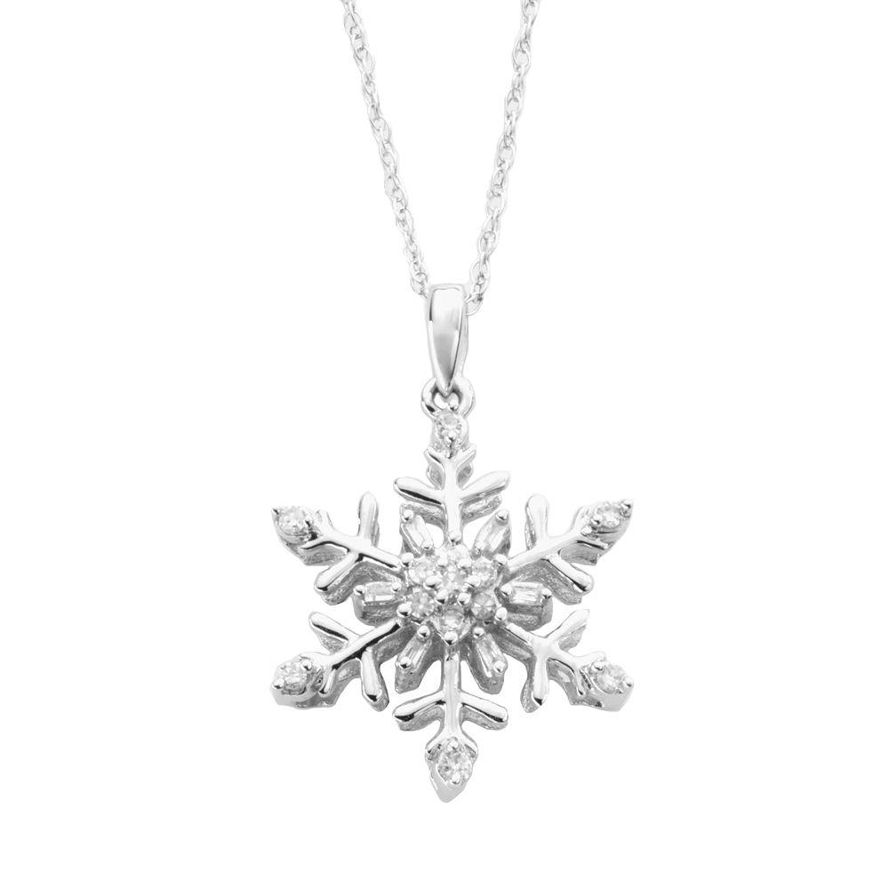 Diamond petites 10k white gold 110 ct tw diamond snowflake pendant aloadofball Image collections