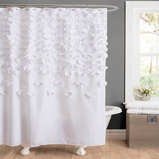 VCNY Melanie Ruffle Shower Curtain Gray