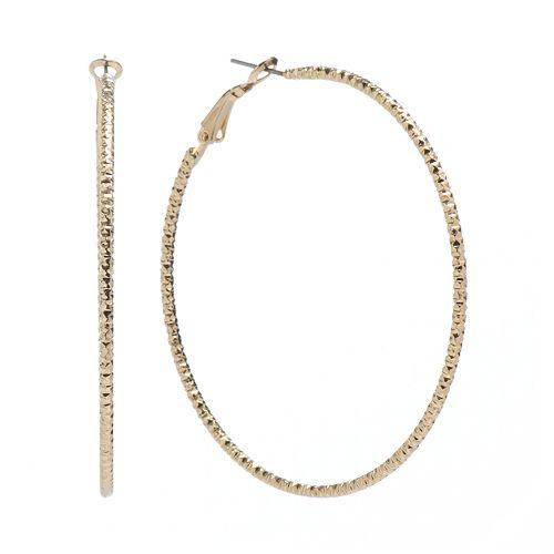 Jennifer Lopez Textured Hoop Earrings