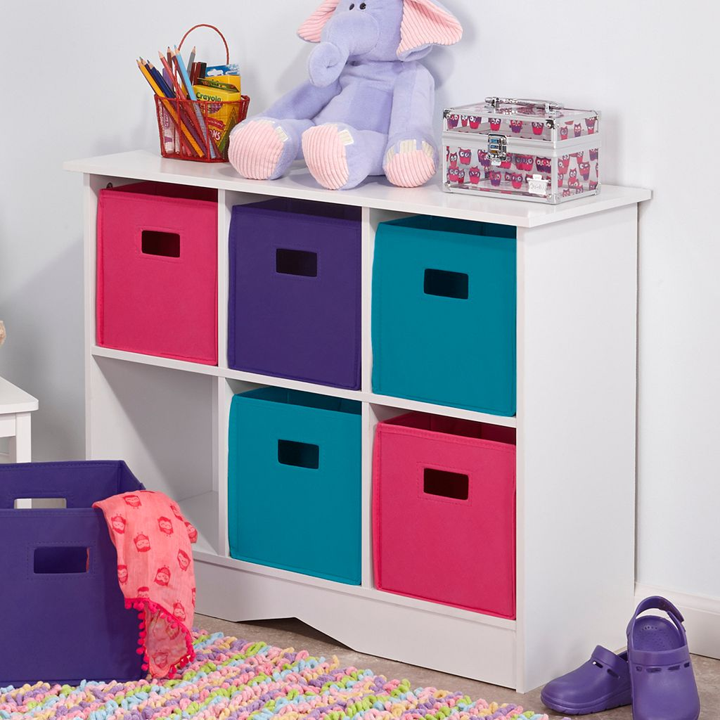 RiverRidge Kids Cabinet & Bright Storage Bins