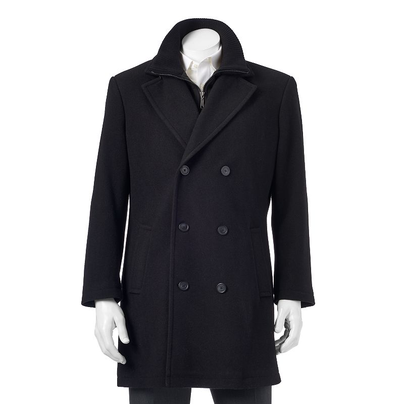 Chaps Double-Breasted Wool-Blend Overcoat - Men