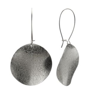 Jet Disc Drop Earrings