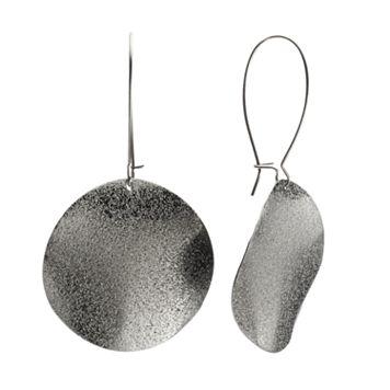 Jet Disc Drop Earrings