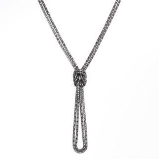 Jet Mesh Knot Lariat Necklace