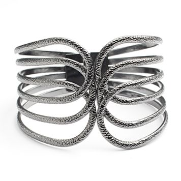Jet Textured Openwork Bangle Bracelet