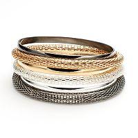 Tri-Tone Mesh Bangle Bracelet Set