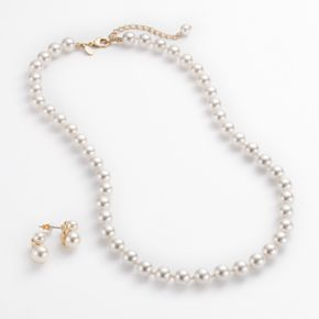 Gold Tone Simulated Pearl Necklace and Stud Earring Set