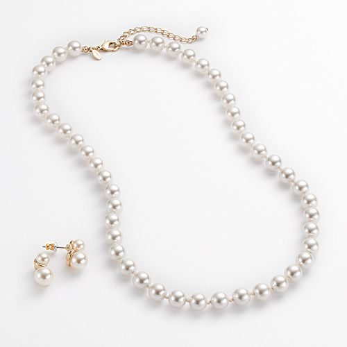 Gold Tone Simulated Pearl Necklace & Stud Earring Set