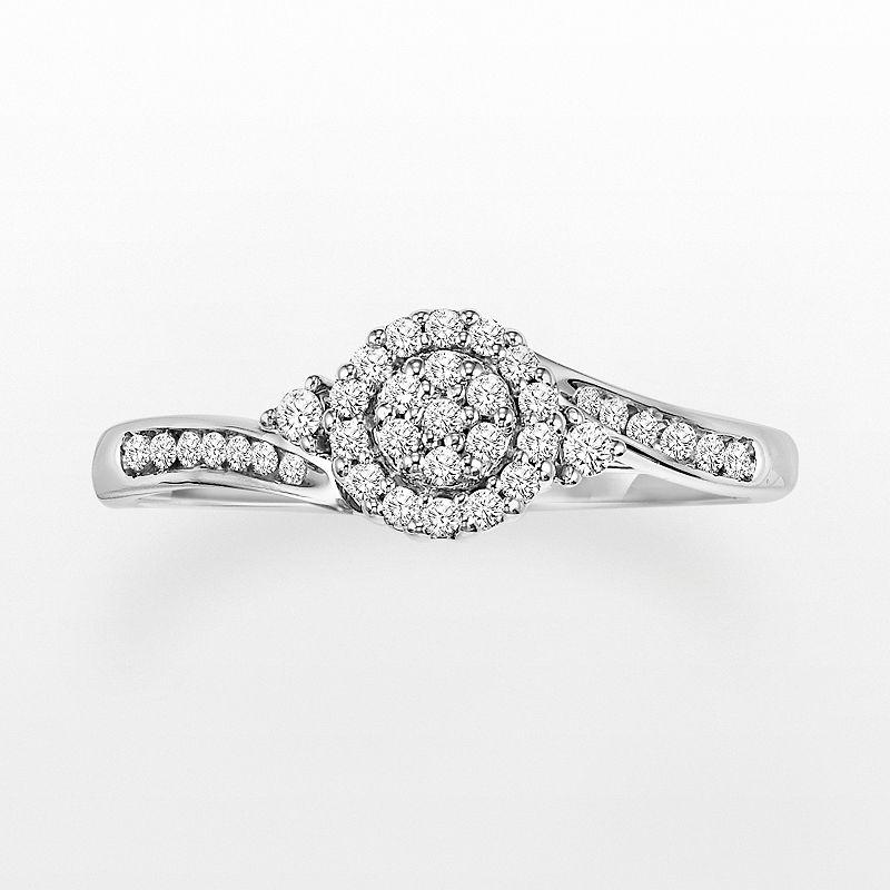 Cherish Always Round-Cut Diamond Bypass Halo Engagement Ring in 10k White Gold (1/5 ct. T.W.)