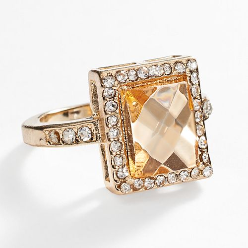 LC Lauren Conrad Gold Tone Simulated Crystal Halo Ring
