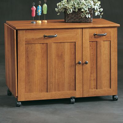 Sauder American Cherry-Finish Sewing and Craft Cart