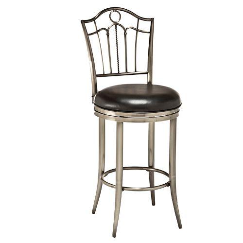Hillsdale Furniture Portland Pewter Finish Swivel Bar Stool
