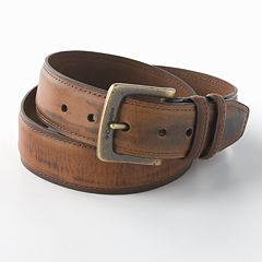 Columbia Double Loop-Stitched Leather Belt - Extended Size