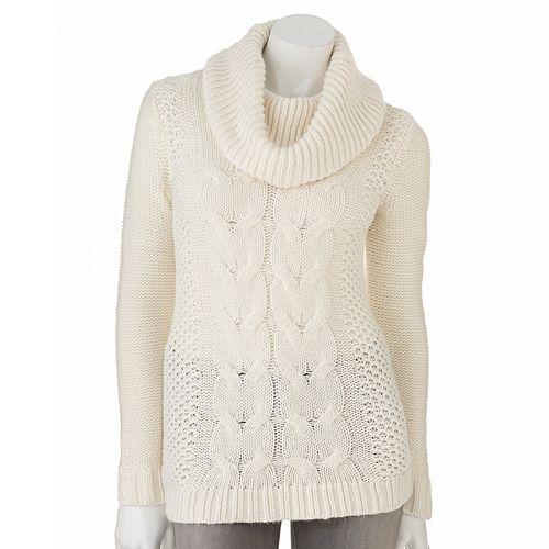 Women's ELLE™ Cable-Knit Cowlneck Sweater