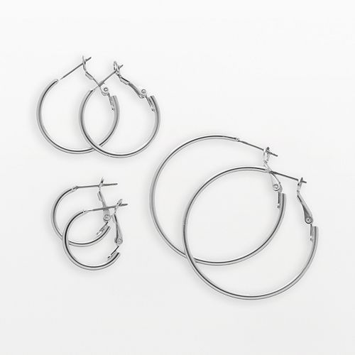 Silver Tone Hoop Earring Set