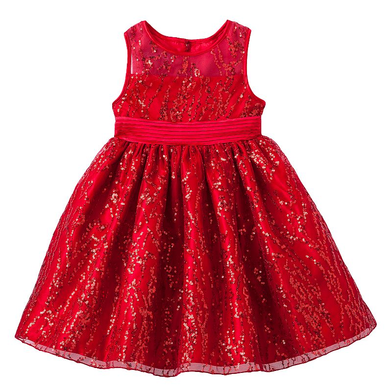 Princess Faith Sequined Dress - Girls 4-6x (Red)