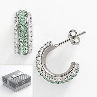 Silver-Plated Crystal Semi-Hoop Earrings