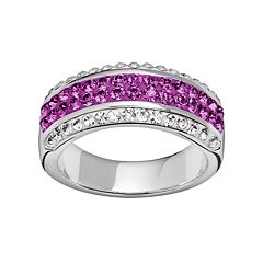 Silver-Plated Crystal Stripe Ring