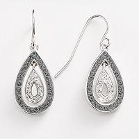 Silver-Plated Crystal Teardrop Earrings