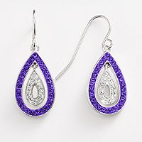 Silver-Plated Crystal Teardrop Earrings
