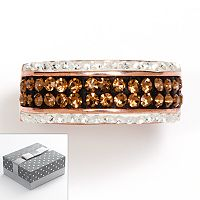 14k Rose Gold Over Silver-Plated Brown & White Crystal Striped Ring