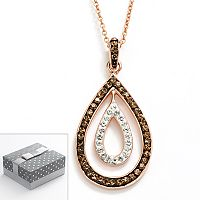 14k Rose Gold Over Silver-Plated Crystal Teardrop Pendant