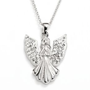 Silver-Plated Crystal Angel Pendant