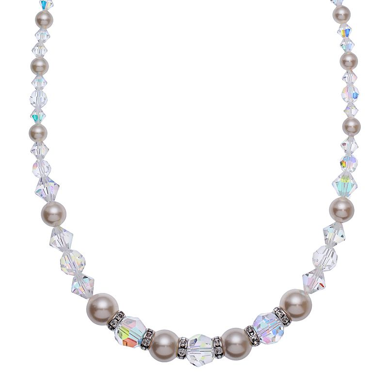 """Crystal Avenue Silver-Plated Crystal and Simulated Pearl Necklace - Made with Swarovski Crystals, Women's, Size: 16"""", multicolor"""