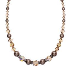 Crystal Avenue Silver-Plated Crystal & Simulated Pearl Necklace - Made with Swarovski Crystals