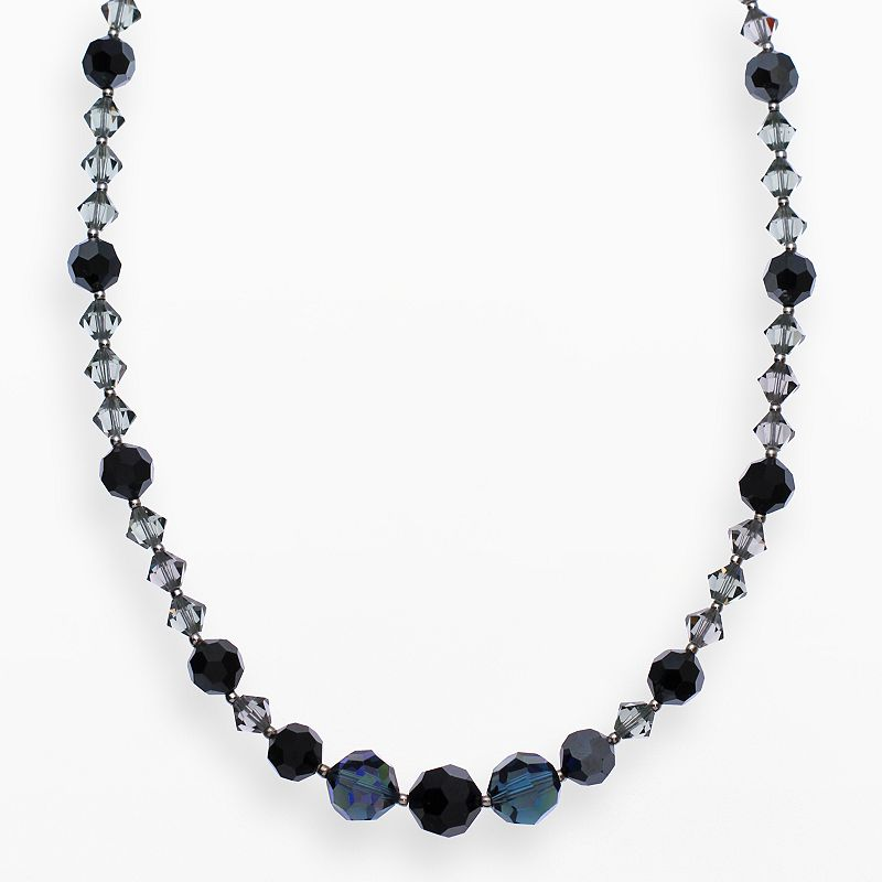 """Crystal Avenue Silver-Plated Crystal Necklace - Made with Swarovski Crystals, Women's, Size: 17"""", Black"""