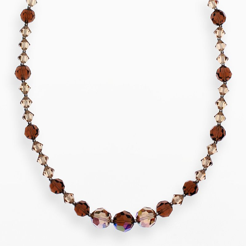 """Crystal Avenue Silver-Plated Crystal Necklace - Made with Swarovski Crystals, Women's, Size: 17"""", Brown"""