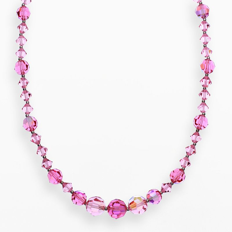 """Crystal Avenue Silver-Plated Crystal Necklace - Made with Swarovski Crystals, Women's, Size: 17"""", Red"""