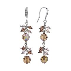 Crystal Avenue Silver-Plated Crystal Linear Drop Earrings - Made with Swarovski Crystals
