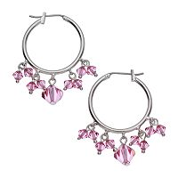 Crystal Avenue Silver-Plated Crystal Hoop Earrings - Made with Swarovski Crystals