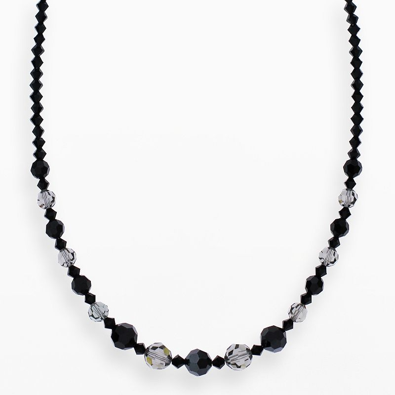 """Crystal Avenue Silver-Plated Crystal Graduated Necklace - Made with Swarovski Crystals, Women's, Size: 17"""", Black"""